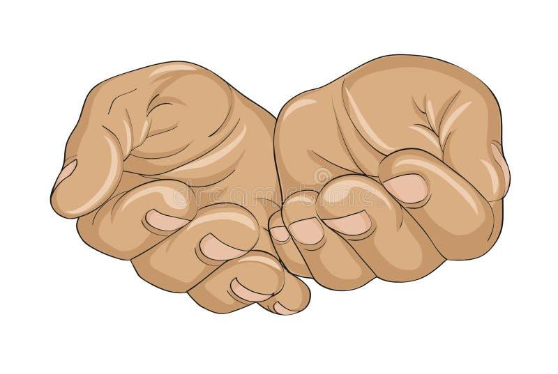 Gebaar open palmen De handen geeft of ontvangt Vector illustratie vector illustratie