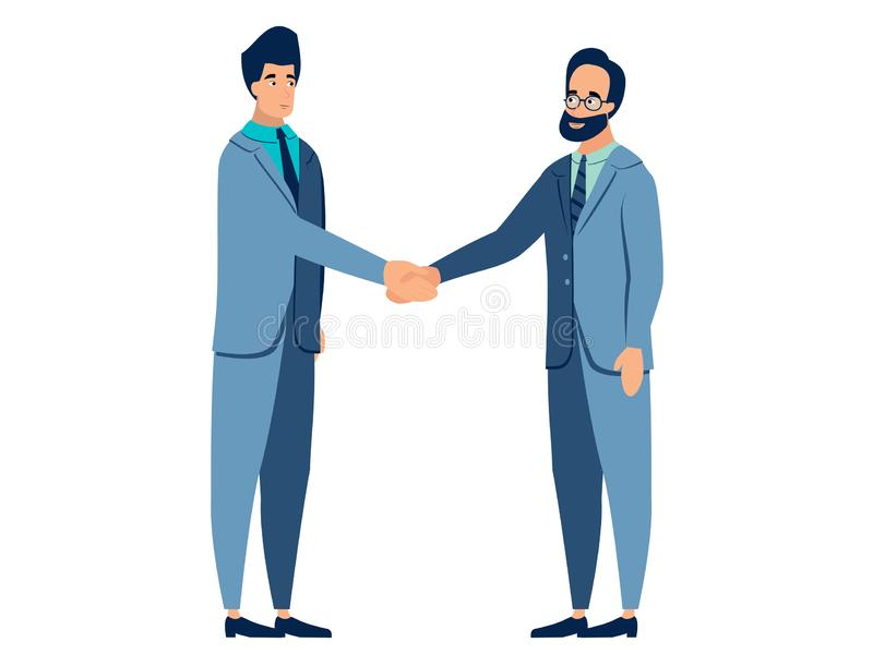 Gebaar van overeenkomst, handdruk Het contract wordt ondertekend, partners In de minimalistische vlakke Vector van het stijlbeeld royalty-vrije illustratie