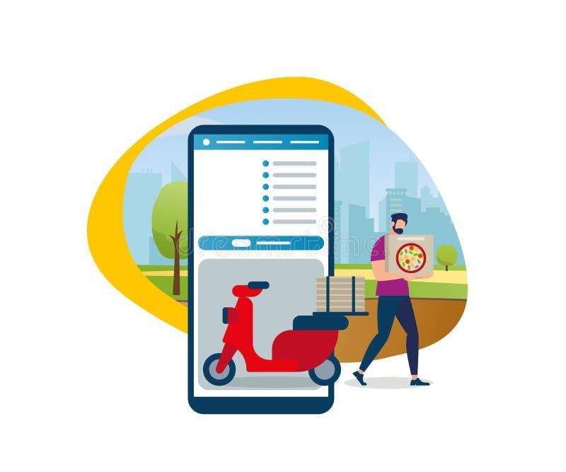 Gebaard Beeldverhaal Guy Shipping Pizza Box Rode bromfiets vector illustratie