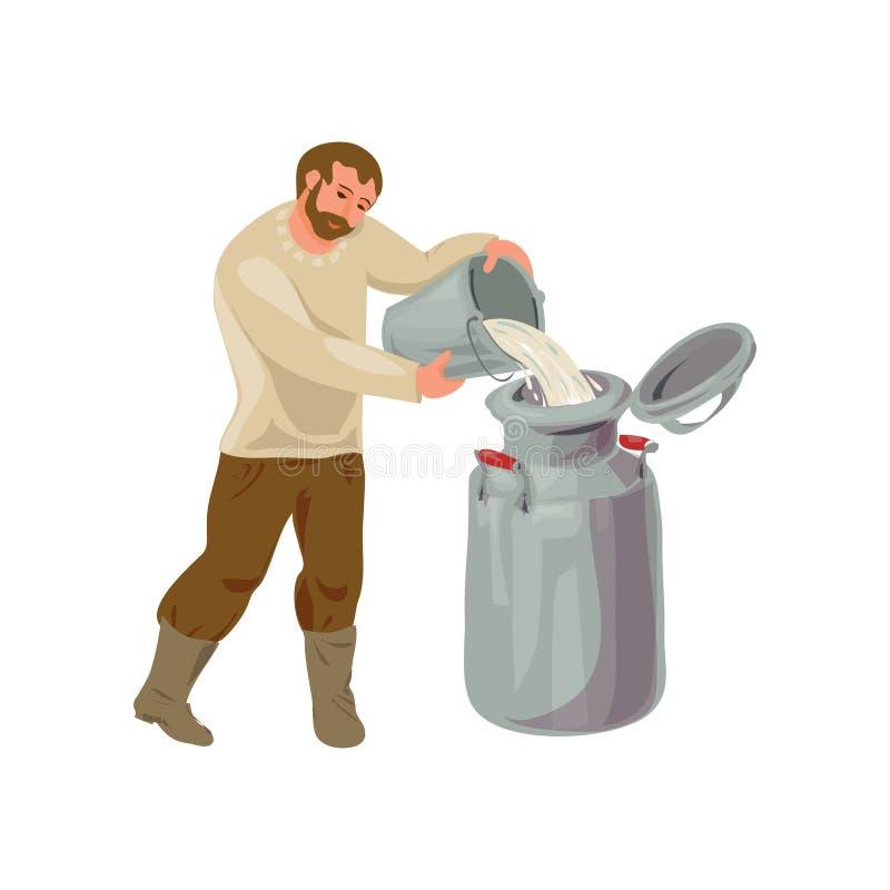 Gebaard farmen de mens is gieten melk van emmer vector illustratie