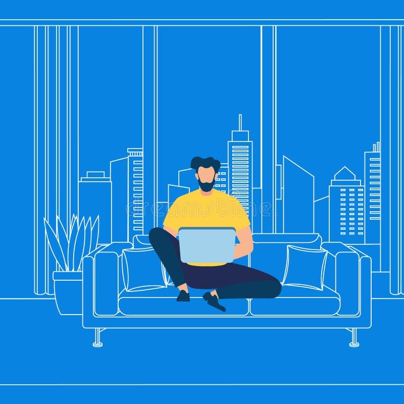 Gebaard Guy Working op Laptop op Blauwe Achtergrond vector illustratie