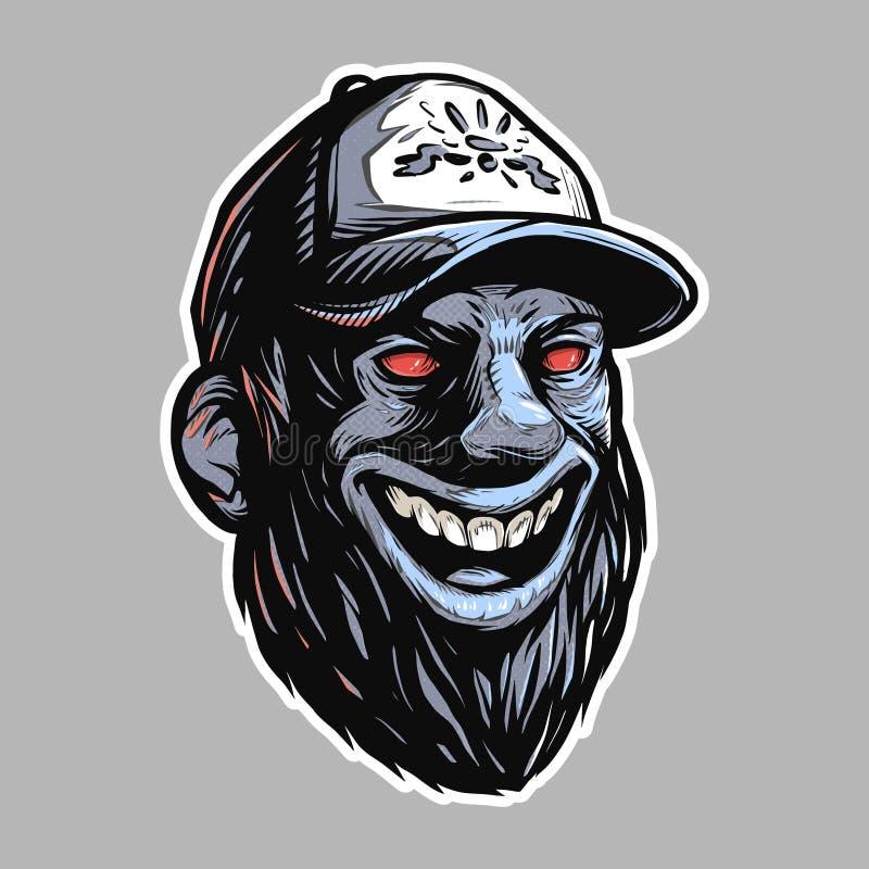 Gebaard mannelijk hoofd met kwade rode ogen stock illustratie