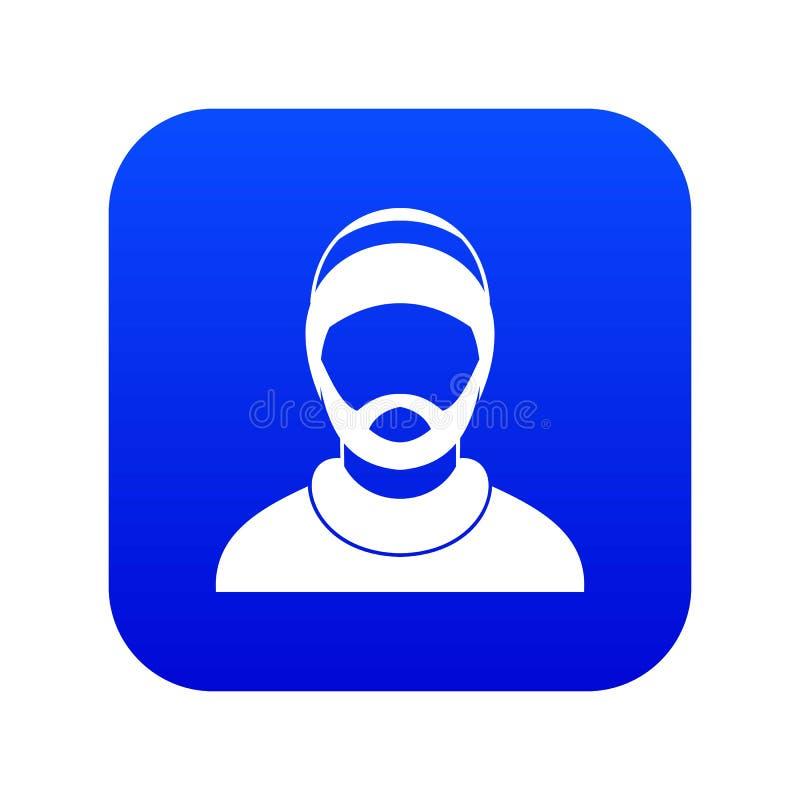 Gebaard mensenavatar pictogram digitaal blauw royalty-vrije illustratie
