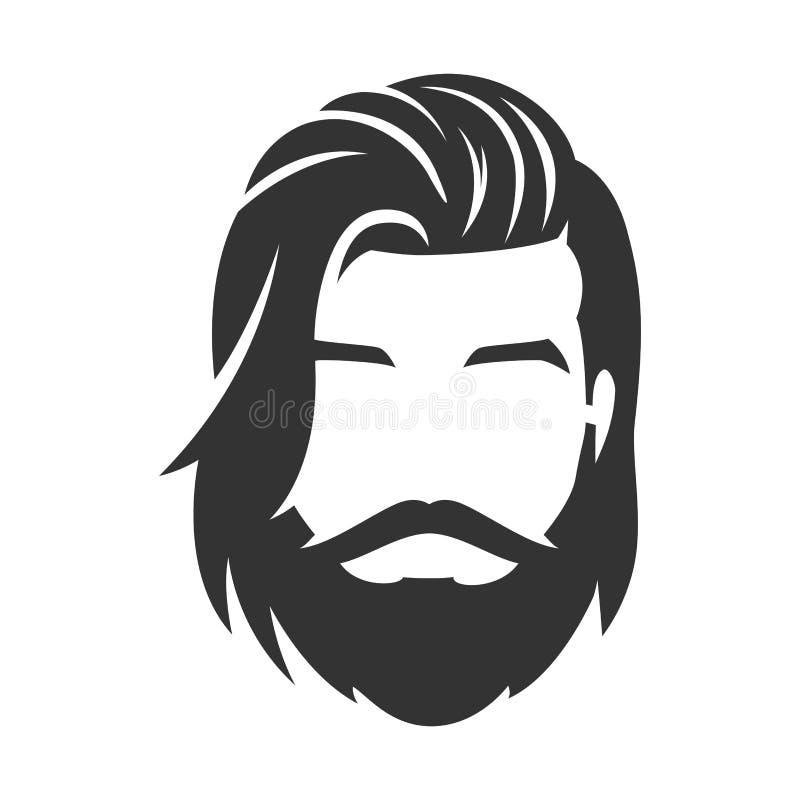 Gebaard mensengezicht, hipster karakter Lang haar vector illustratie