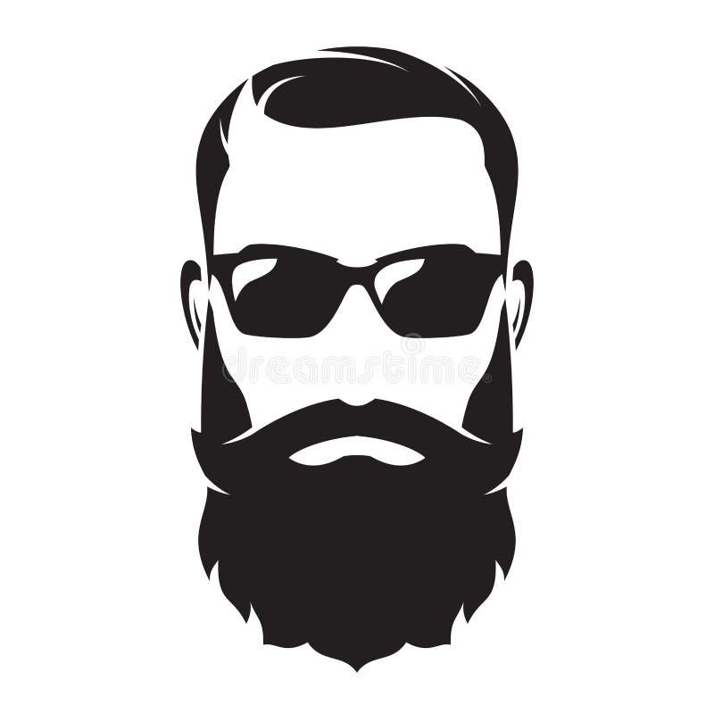 Gebaard mensens gezicht, hipster karakter Maniersilhouet, avata royalty-vrije illustratie