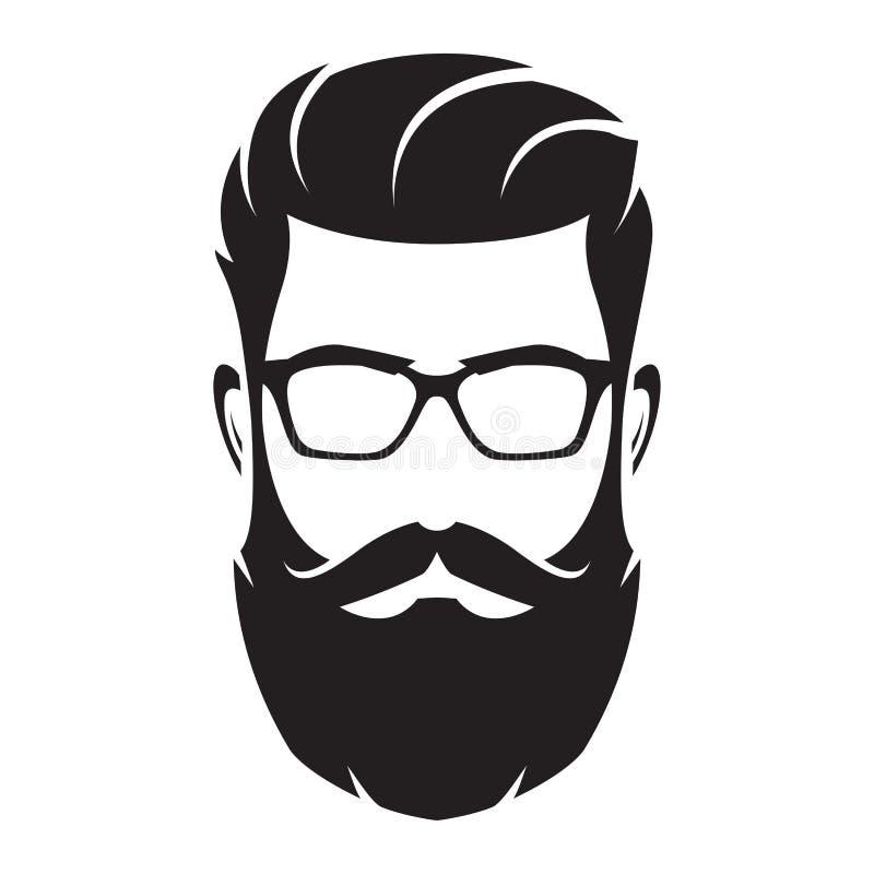 Gebaard mensens gezicht, hipster karakter Maniersilhouet, avata vector illustratie