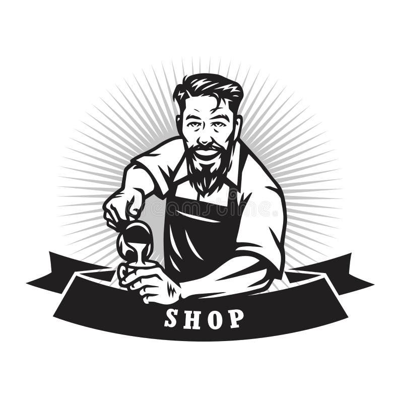 Gebaarde Barista Man Making Coffee Latte Art Cafe Logo Design Template vector illustratie