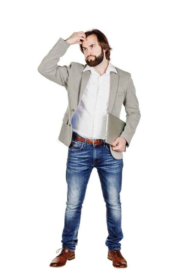 Gebaarde bedrijfsmens die zijn hoofd krassen menselijke emotieexpressi stock foto's