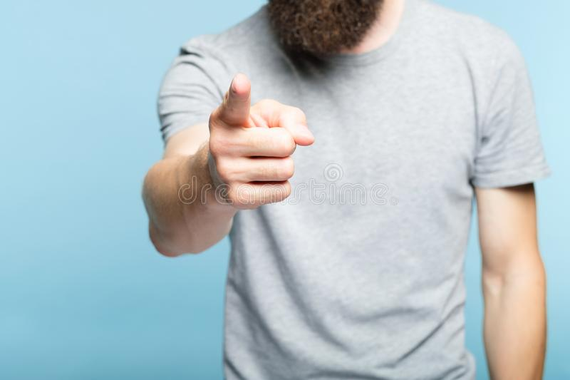 Gebaarde het puntvinger die van de mensenhand op gebaar wijzen stock foto