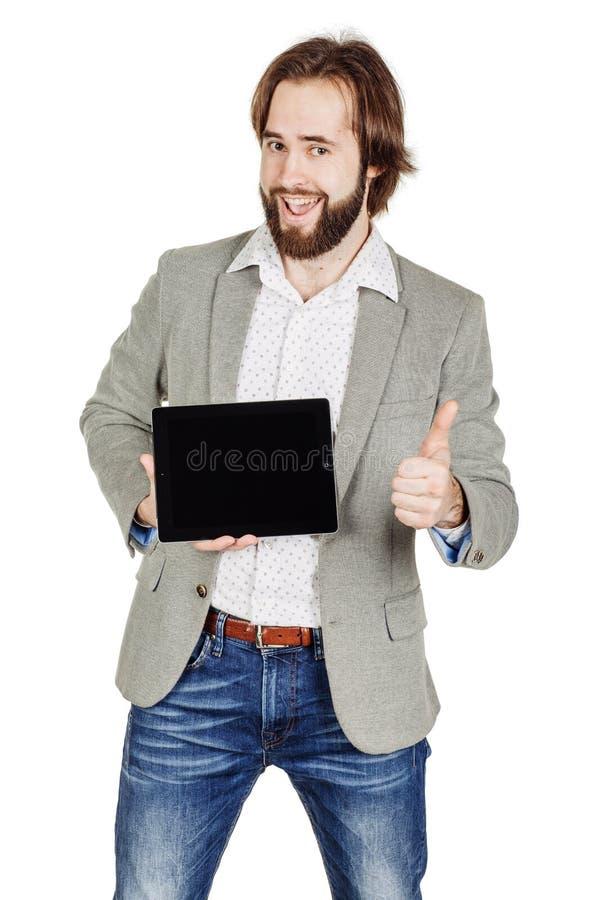 Gebaarde jonge bedrijfsmens die digitale tablet gebruiken Portret isolat royalty-vrije stock foto