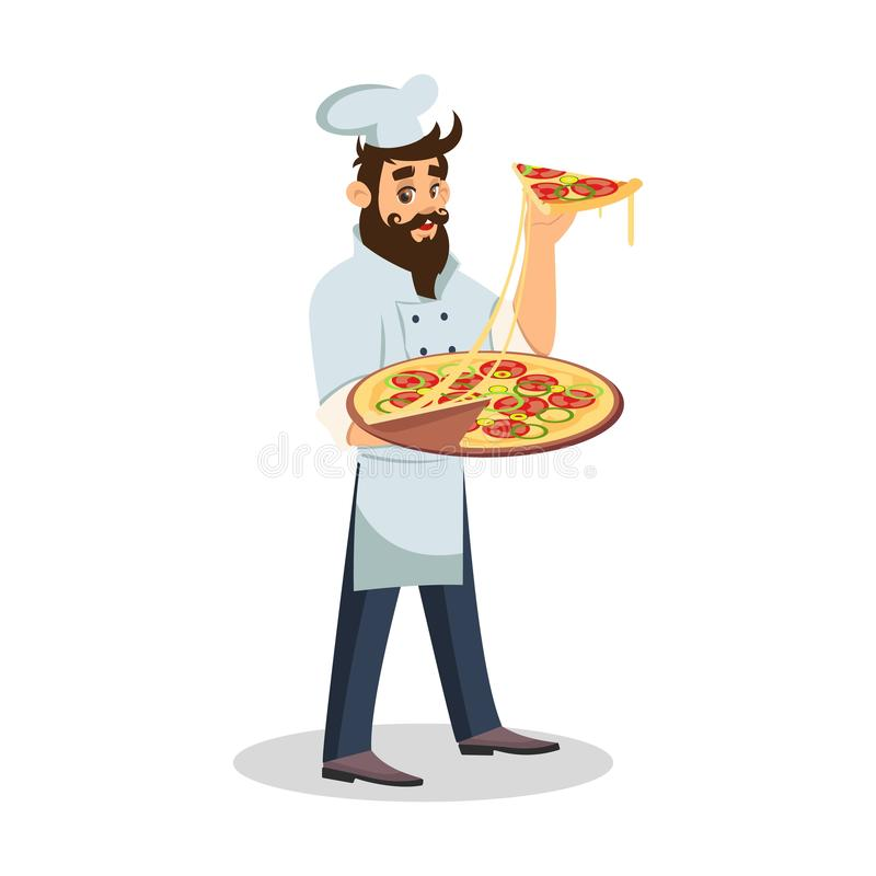 Gebaarde knappe kok die en pizza in handen bevindt zich houdt Vriendschappelijke kelner op het werk royalty-vrije illustratie