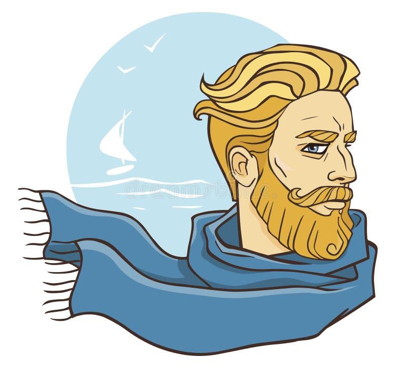 Gebaarde mens in een sjaal royalty-vrije illustratie