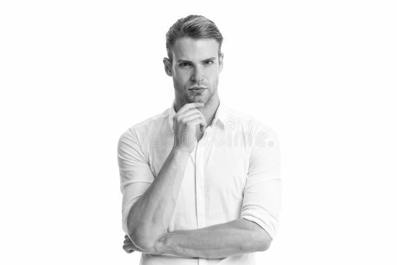 Gebaarde mens Manierportret van de mens Mannelijke manier Zakenman Mens die op wit wordt geïsoleerde Zaken Gezichts zorg Zaken stock foto