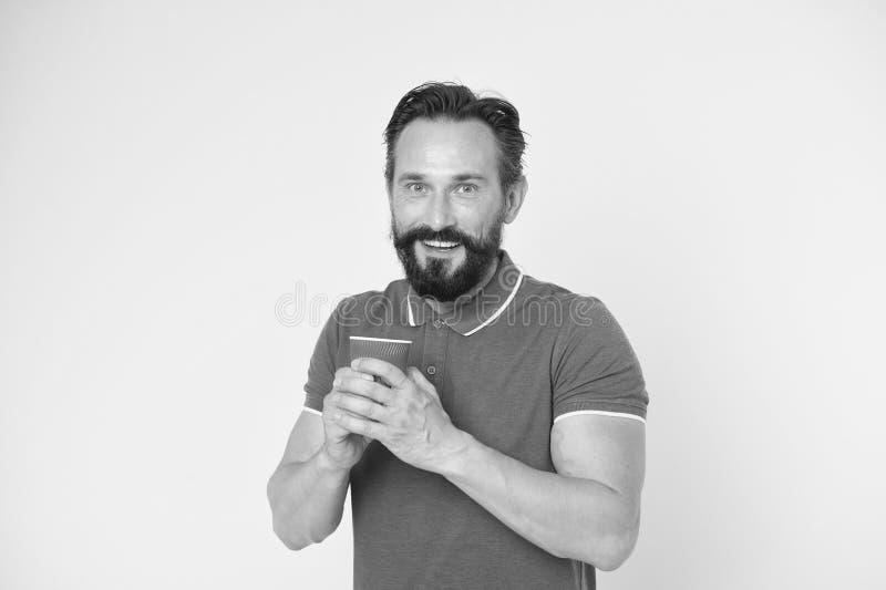 Gebaarde mens Mannelijke kapperszorg Rijpe hipster met baard Brutale Kaukasische hipster met snor de gelukkige mens met neemt stock fotografie