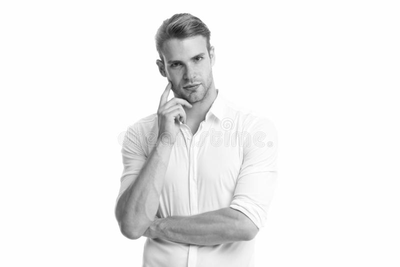 Gebaarde mens Mannelijke manier Zakenman Mens die op wit wordt geïsoleerde Zaken Gezichts zorg Manierportret van de mens volledig stock fotografie