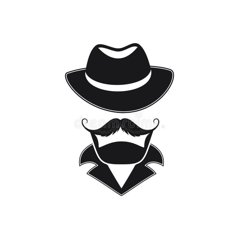 Gebaarde mens met een snor in een hoed met brede rand vector illustratie