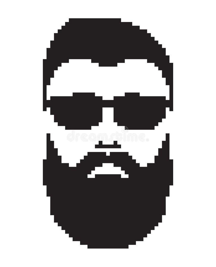 Gebaarde mens met snor Het portret van het herenkapperembleem De Mustachedmensen zien pictogram onder ogen vector illustratie