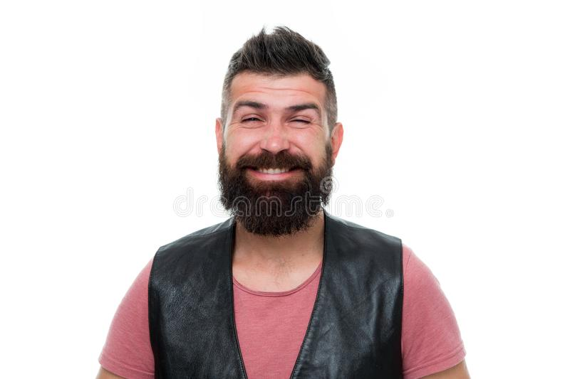 Gebaarde mens Vers het voelen na het scheren Haar en baardzorg Mannelijke kapperszorg grimas glimlachende mens hipster gezichts royalty-vrije stock fotografie