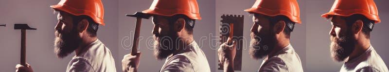 Gebaarde mensenarbeider met baard, de bouwhelm, bouwvakker De bouwer van de portretarchitect, civiel-ingenieur het werken Bouwer  stock afbeeldingen