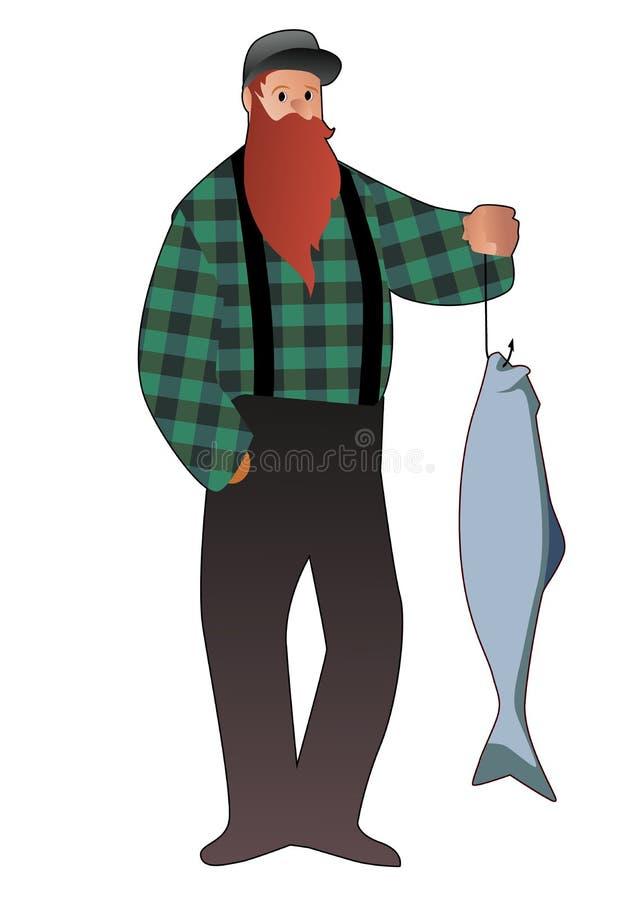 Gebaarde visser die een zalm van een vishaak vangen, die een GLB en een geruit overhemd dragen, dat op witte achtergrond wordt ge vector illustratie
