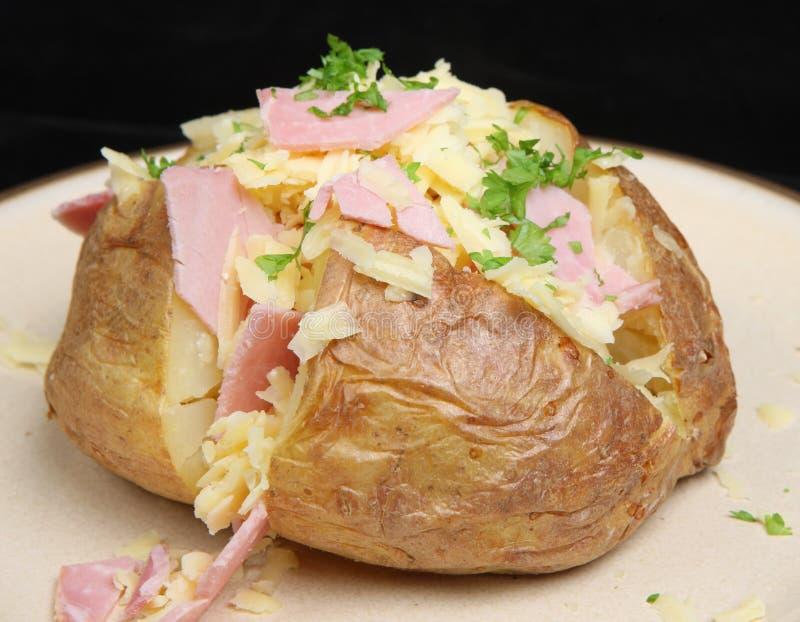 Gebackene Kartoffel mit Schinken u. Käse stockfotografie