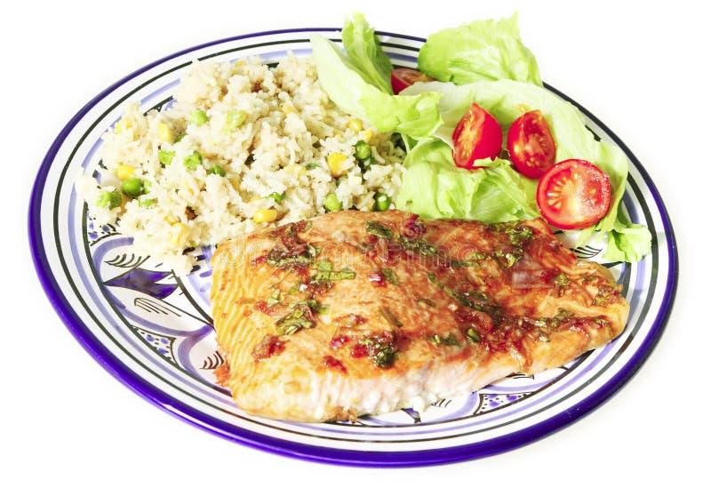 Gebackene Lachse mit Reis stockbild