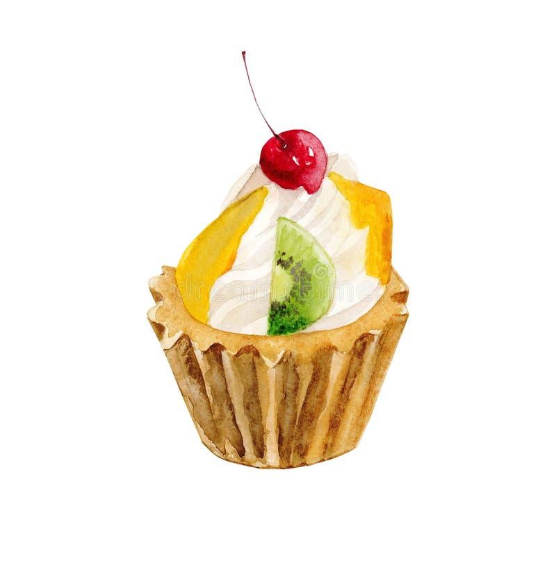 Gebackener kleiner Kuchen der Frucht Aquarell stock abbildung