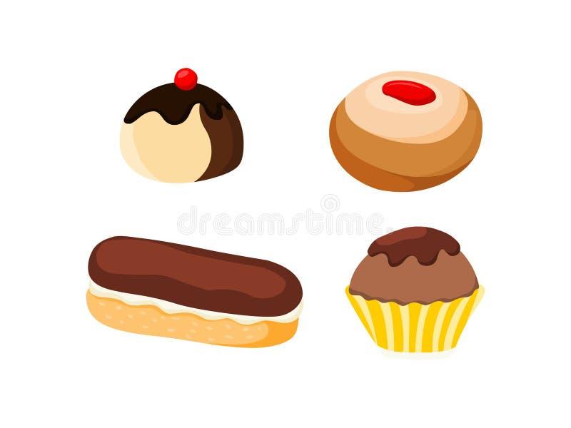 gebakje Reeks van gebakje vectorillustratie stock illustratie