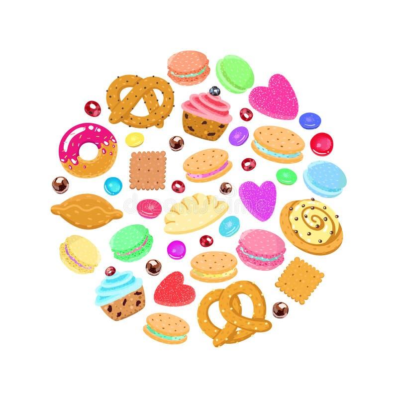 Gebakjes, snoepjes en suikergoed vectorcirkelachtergrond vector illustratie