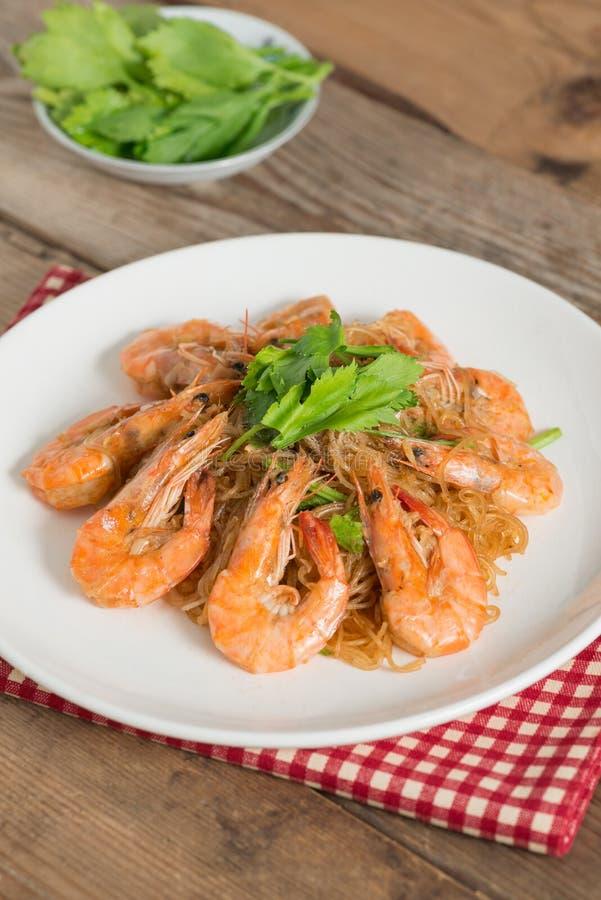 Gebakken garnalenvermicelli Thais voedsel - beweeg gebraden gerecht #6 royalty-vrije stock foto's