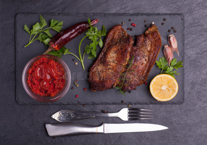 Gebakken varkensvleesvlees royalty-vrije stock foto's