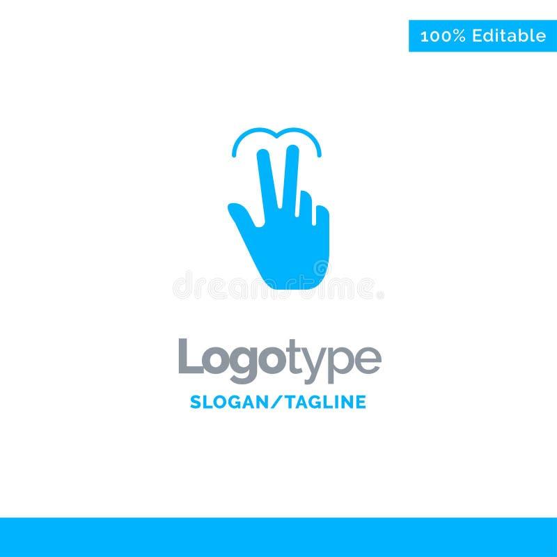 Gebaren, Mobiele Hand, Aanraking, Tab Blue Solid Logo Template Plaats voor Tagline stock illustratie