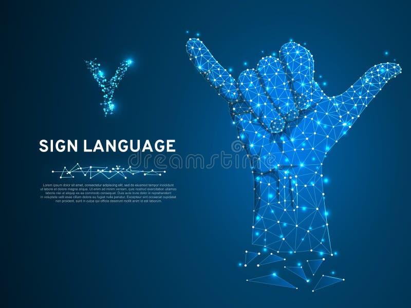 Gebarentaaly brief, vingers omhoog, hand die ja gebaar Veelhoekige lage poly tonen Dovenmededeling Vector royalty-vrije illustratie