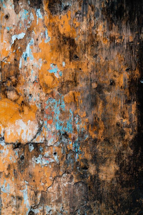 Gebarsten concrete uitstekende muurachtergrond, oude muur royalty-vrije stock foto