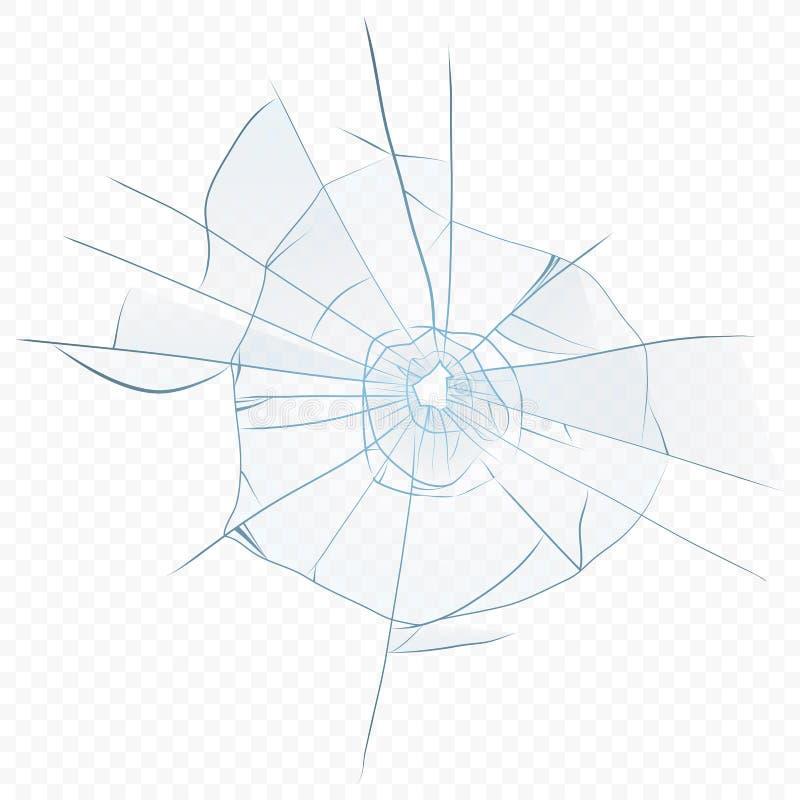 Gebarsten de vector verpletterde realistisch glas op de transperant alpha- achtergrond Glasgat vector illustratie