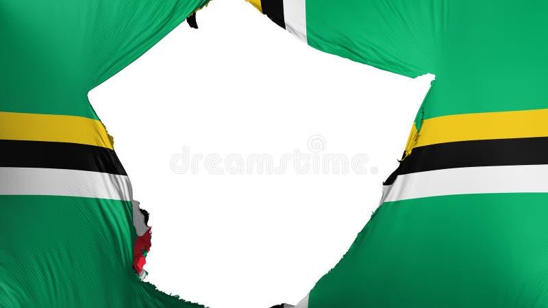 Gebarsten Dominica vlag stock illustratie