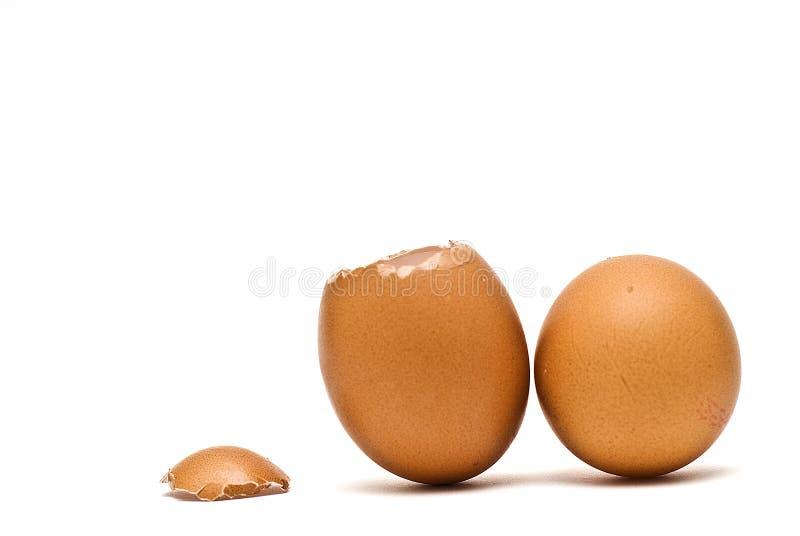 Gebarsten ei en volledig ei. stock fotografie