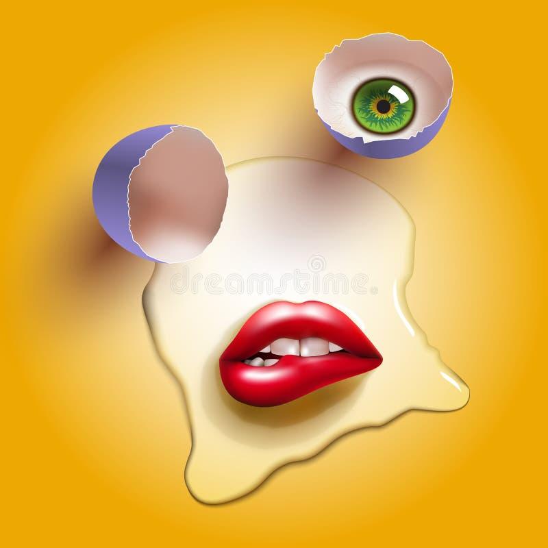 Gebarsten ei met lippen royalty-vrije illustratie