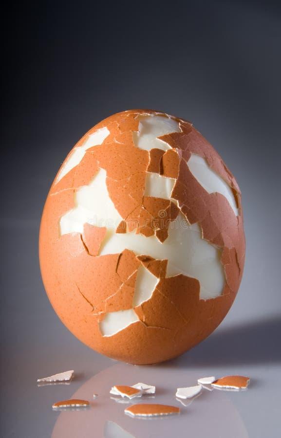 Gebarsten ei met stukken van shell stock foto's