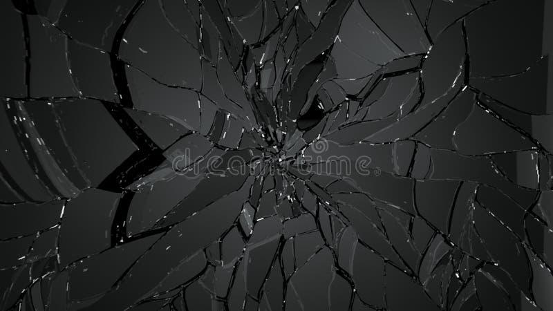 Gebarsten en gebroken glas op zwarte vector illustratie