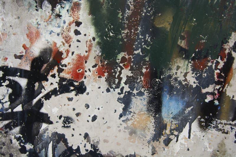 Gebarsten en schil kleurrijke verf, grunge oude muurtextuur Tempalte voor ontwerp stock afbeelding