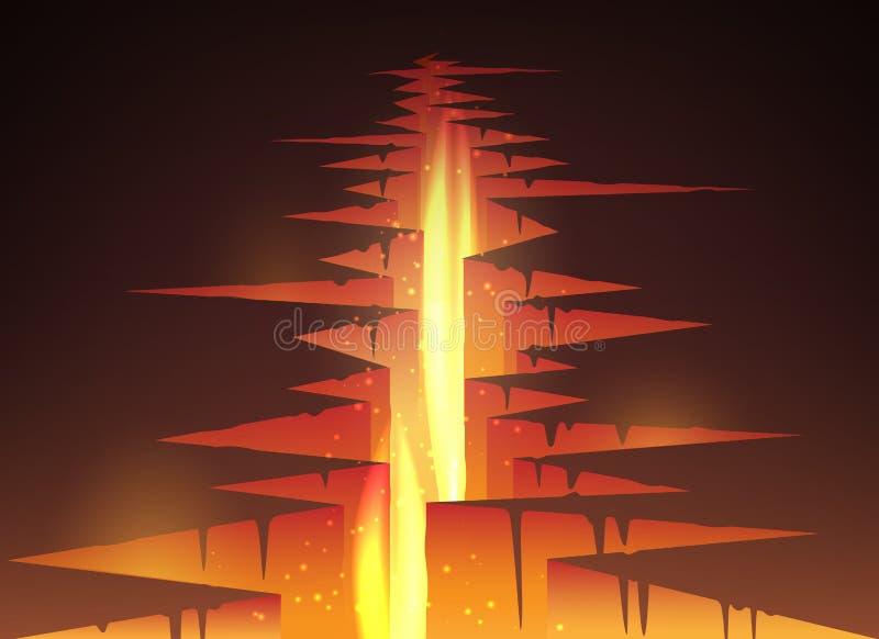 Gebarsten gat in grond met lava royalty-vrije illustratie