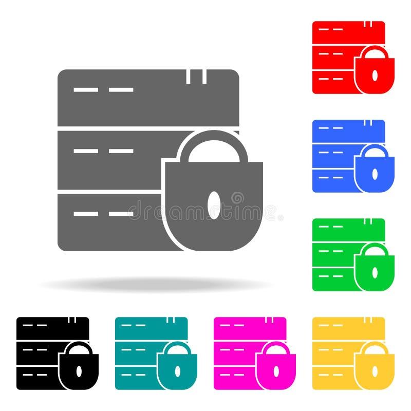 Gebarsten/Gebroken slotpictogram Elementen in multi gekleurde pictogrammen voor mobiel concept en Web apps Pictogrammen voor webs royalty-vrije illustratie