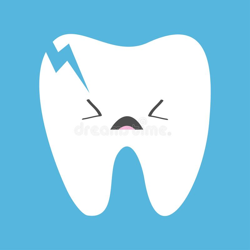 Gebarsten gebroken tandpictogram Droevig gezicht emoticon Schreeuwende slechte zieke tanden met bederf Leuk grappig de babykarakt vector illustratie