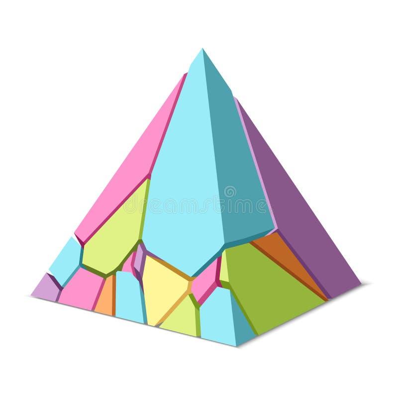 Gebarsten gekleurde piramide vector illustratie