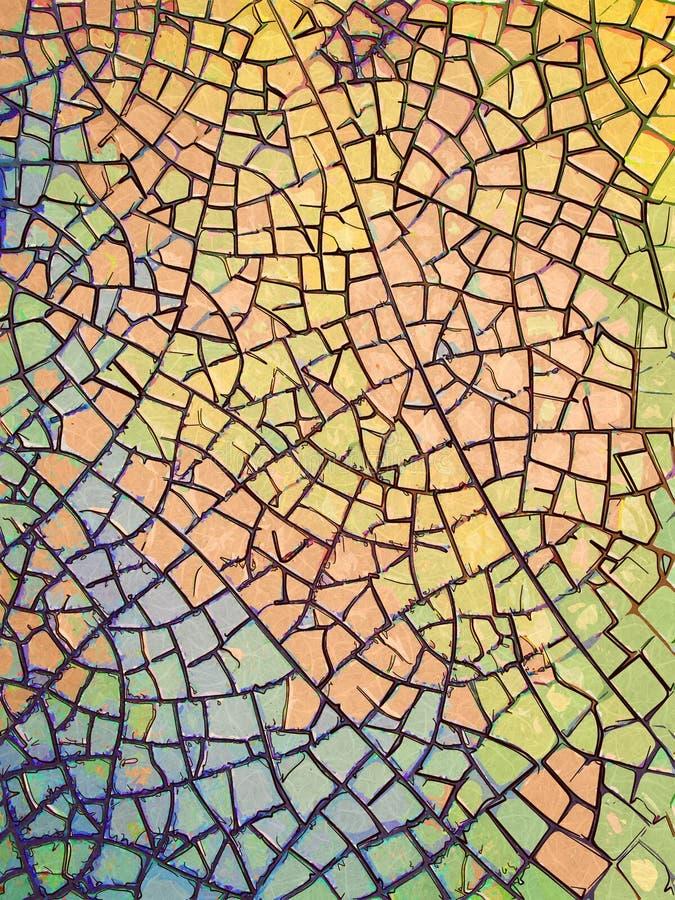 Gebarsten Gekleurde Tegel stock illustratie