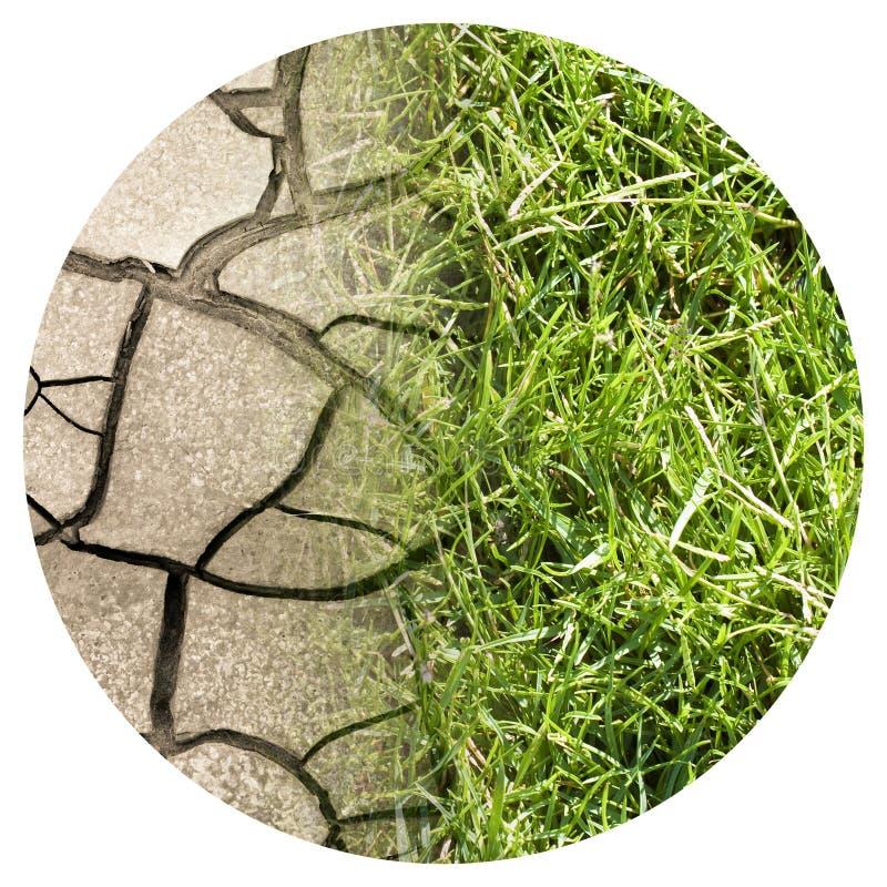 Gebarsten grond en groene weide - het beeld van het klimaatveranderingconcept - het Ronde beeld van het pictogramconcept - Fotogr royalty-vrije stock foto's