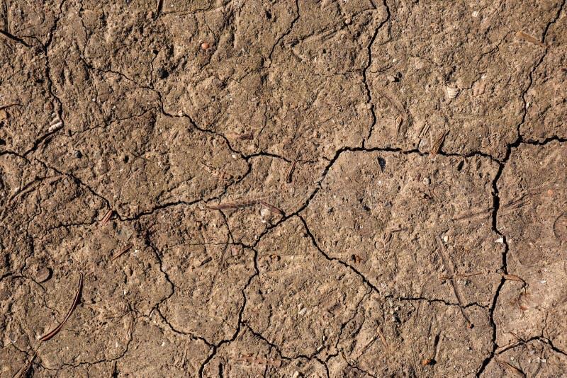 Gebarsten grondoppervlakte als achtergrond Dorstige grond stock foto's