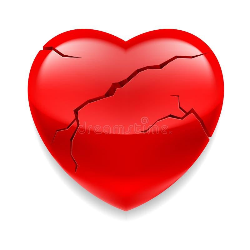 Gebarsten hart vector illustratie