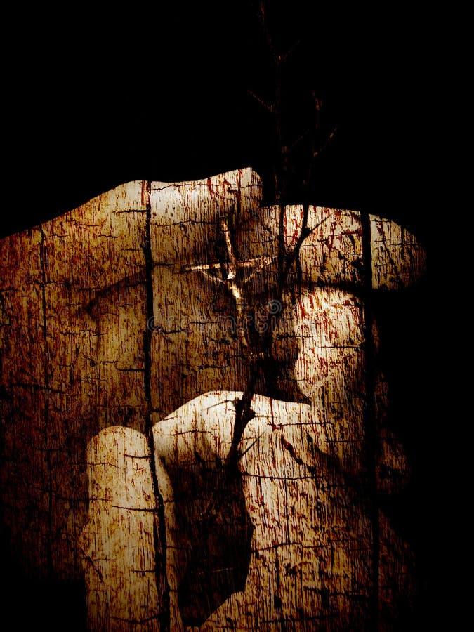 Gebarsten houten geloof stock foto's